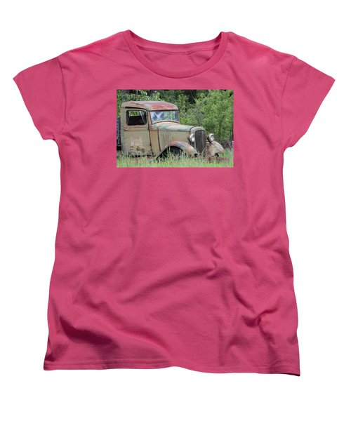 Women's T-Shirt (Standard Cut) featuring the photograph Abandoned Truck In Field by Athena Mckinzie