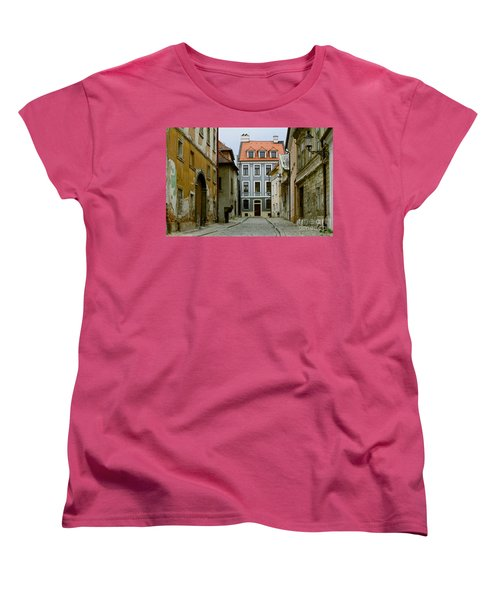 Women's T-Shirt (Standard Cut) featuring the photograph Old Street In Bratislava by Les Palenik