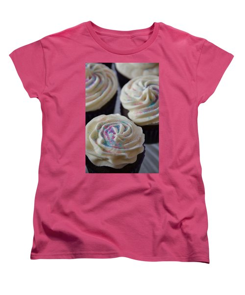 Pink And Blue Sparkles Women's T-Shirt (Standard Cut) by Bonnie Myszka