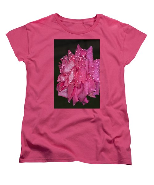 Women's T-Shirt (Standard Cut) featuring the photograph Pink Rose Wendy Cussons by Steve Purnell