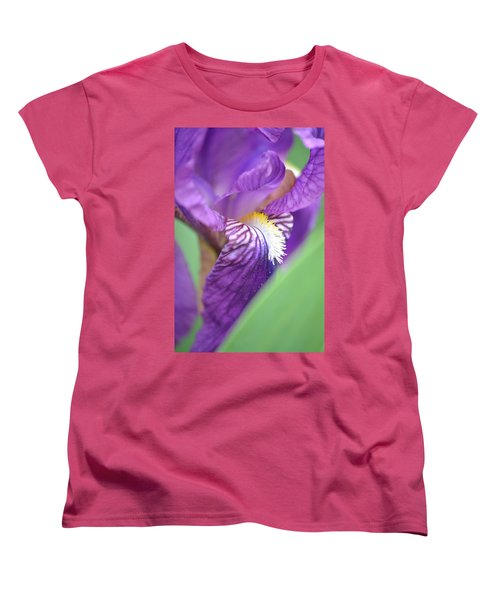 Women's T-Shirt (Standard Cut) featuring the photograph Purple Iris by JD Grimes