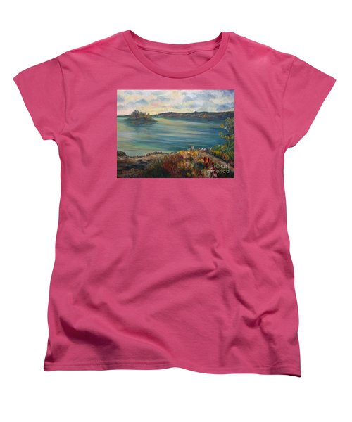 Women's T-Shirt (Standard Cut) featuring the painting Rainy Lake Michigan by Julie Brugh Riffey