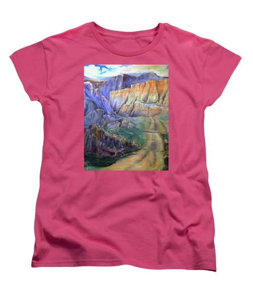 Women's T-Shirt (Standard Cut) featuring the painting Road To Rainbow Gulch by Gertrude Palmer