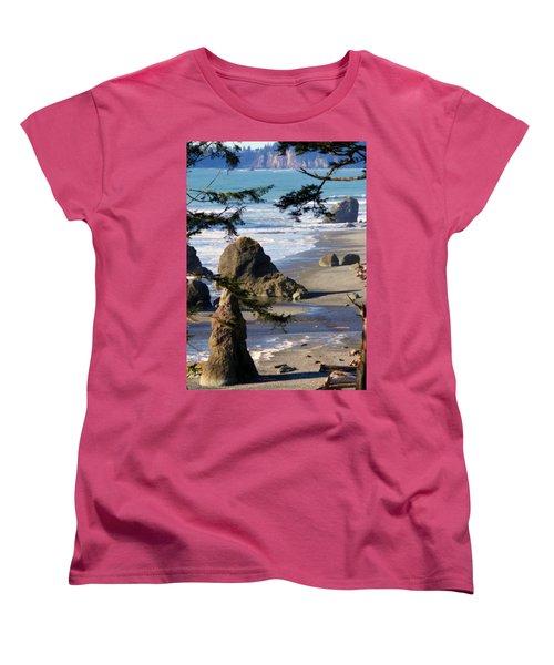 Ruby Beach Iv Women's T-Shirt (Standard Cut) by Jeanette C Landstrom