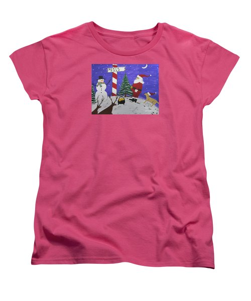 Women's T-Shirt (Standard Cut) featuring the painting Santa Finds Pot Of Gold by Jeffrey Koss