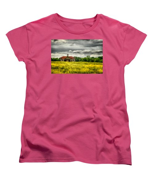 Women's T-Shirt (Standard Cut) featuring the painting Shiloh School by Lynne Jenkins