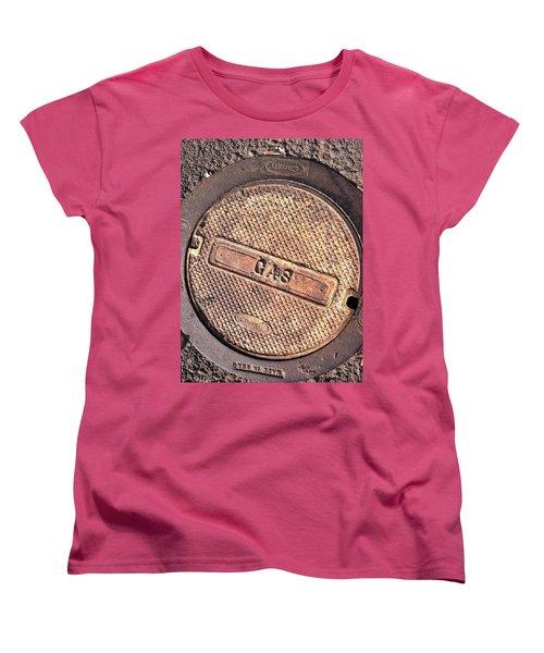 Women's T-Shirt (Standard Cut) featuring the photograph Sidewalk Gas Cover by Bill Owen