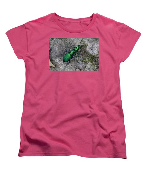 Women's T-Shirt (Standard Cut) featuring the photograph Six-spotted Tiger Beetles Copulating by Daniel Reed
