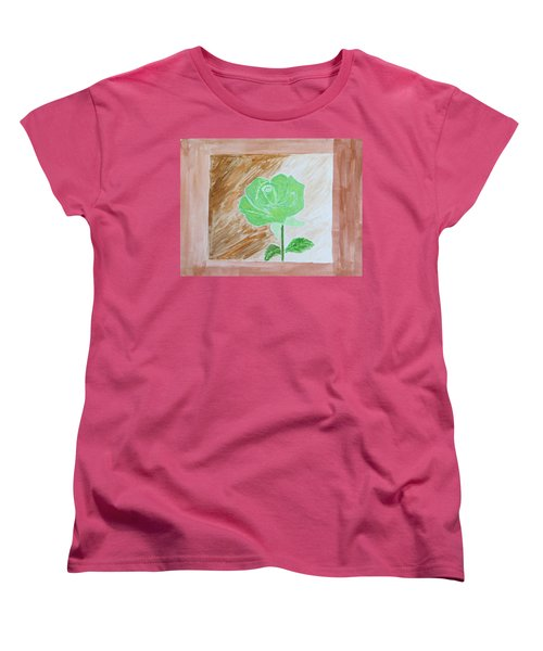 Women's T-Shirt (Standard Cut) featuring the painting Solitary Rose by Sonali Gangane