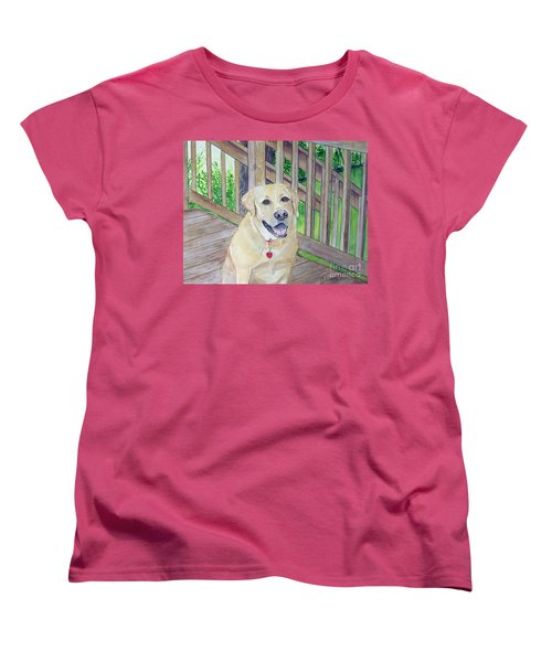 Women's T-Shirt (Standard Cut) featuring the painting Spencer On Porch by Carol Flagg