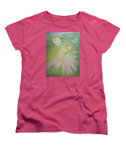 Women's T-Shirt (Standard Cut) featuring the painting Spring Fairy Entrance by Judith Desrosiers