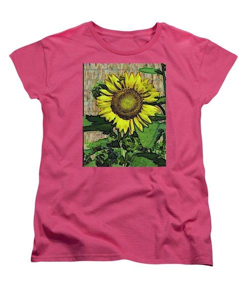 Sunflower Face Women's T-Shirt (Standard Cut) by Alec Drake