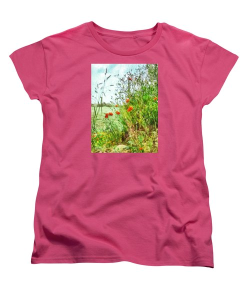 Women's T-Shirt (Standard Cut) featuring the digital art The Edge Of The Field by Steve Taylor