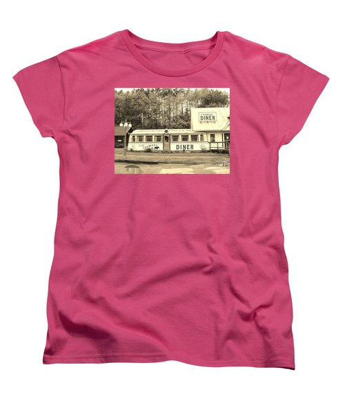Women's T-Shirt (Standard Cut) featuring the photograph The Farmers Diner In Sepia by Sherman Perry