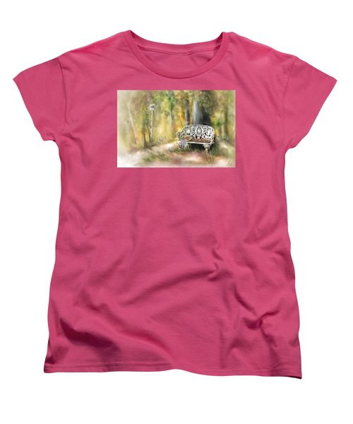Women's T-Shirt (Standard Cut) featuring the painting The Garden Bench by Bonnie Willis