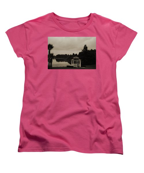 Women's T-Shirt (Standard Cut) featuring the photograph The Gazebo At The Lake by DigiArt Diaries by Vicky B Fuller