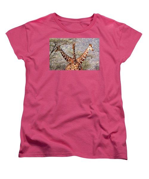 Three Headed Giraffe Women's T-Shirt (Standard Cut) by Tony Murtagh