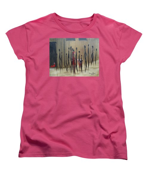Women's T-Shirt (Standard Cut) featuring the painting Too Busy To Notice by Judith Rhue