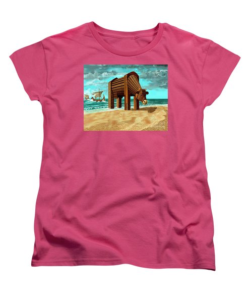 Trojan Cow Women's T-Shirt (Standard Cut) by Russell Kightley