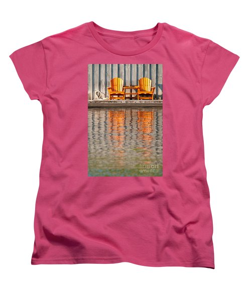 Women's T-Shirt (Standard Cut) featuring the photograph Two Wooden Chairs by Les Palenik