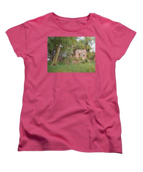Women's T-Shirt (Standard Cut) featuring the photograph Walnut Grove School Ruins by Bonfire Photography