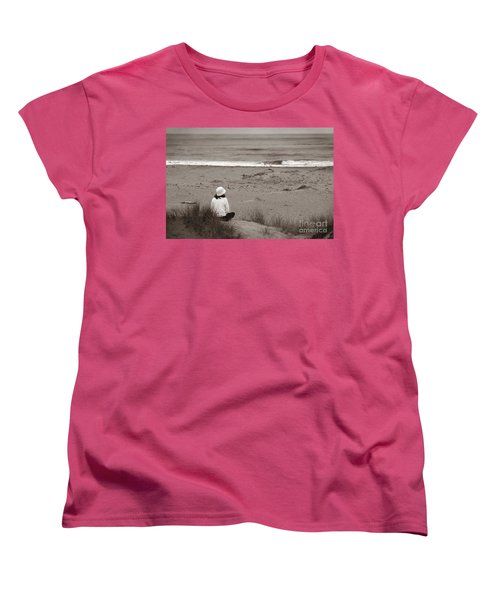 Watching The Ocean In Black And White Women's T-Shirt (Standard Cut)