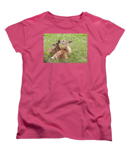Women's T-Shirt (Standard Cut) featuring the photograph Whispering Fawns by Jeannette Hunt