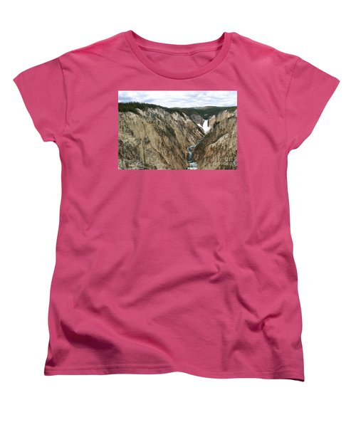 Wide View Of The Lower Falls In Yellowstone Women's T-Shirt (Standard Cut) by Living Color Photography Lorraine Lynch