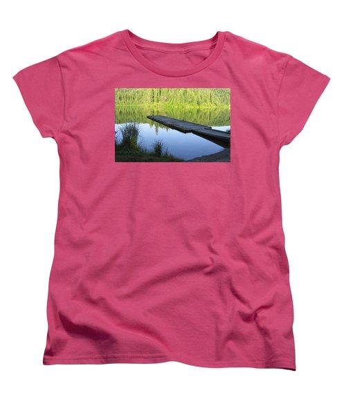 Wooden Dock On Lake Women's T-Shirt (Standard Cut) by Anne Mott