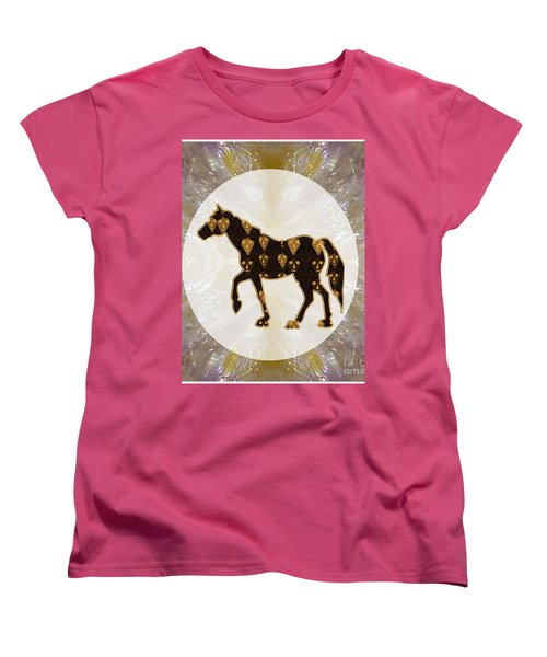 Horse Prancing Abstract Graphic Filled Cartoon Humor Faces Download Option For Personal Commercial  Women's T-Shirt (Standard Cut) by Navin Joshi