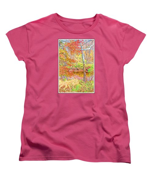 Women's T-Shirt (Standard Cut) featuring the photograph  Woods In Autumn Montgomery Cty Pennsylvania by A Gurmankin