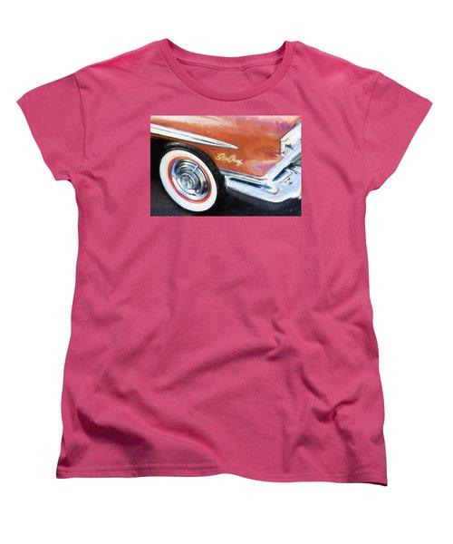Women's T-Shirt (Standard Cut) featuring the photograph 1958 Pontiac Star Chief  by Rich Franco