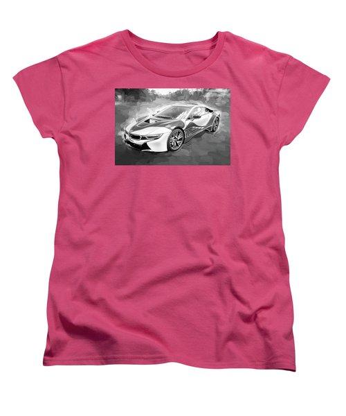 Women's T-Shirt (Standard Cut) featuring the photograph 2015 Bmw I8 Hybrid Sports Car Bw by Rich Franco