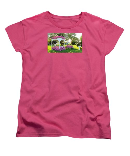A Bed Of Flowers Women's T-Shirt (Standard Cut) by Jeanette Oberholtzer