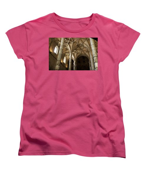 Lisbon Cathedral's Ancient Arches  Women's T-Shirt (Standard Cut) by Lorraine Devon Wilke
