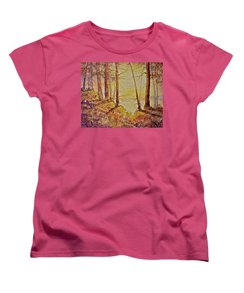 Women's T-Shirt (Standard Cut) featuring the painting Autumn Glow by Carolyn Rosenberger