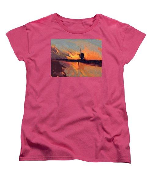 Autumn Indian Summer Windmill Holland Women's T-Shirt (Standard Cut) by Nop Briex