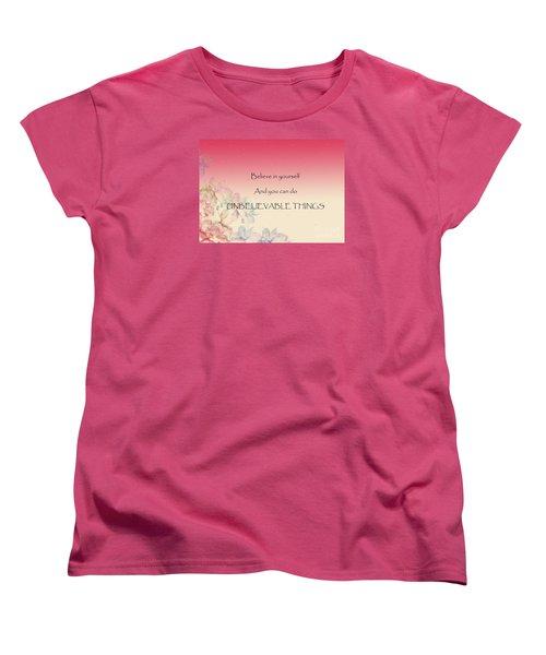 Women's T-Shirt (Standard Cut) featuring the digital art Believe by Trilby Cole