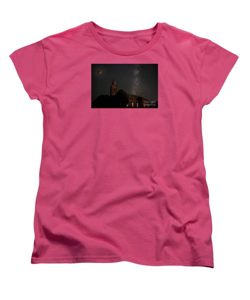 Women's T-Shirt (Standard Cut) featuring the photograph Blood Moon Over St. Johns Church by Keith Kapple