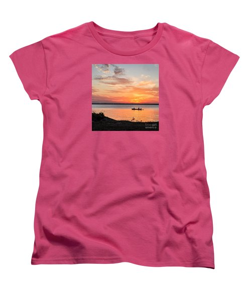 Women's T-Shirt (Standard Cut) featuring the photograph Boating Sunset by Cheryl McClure