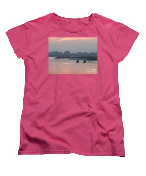 Women's T-Shirt (Standard Cut) featuring the photograph Buffalos Crossing The Yamuna River by Jean luc Comperat