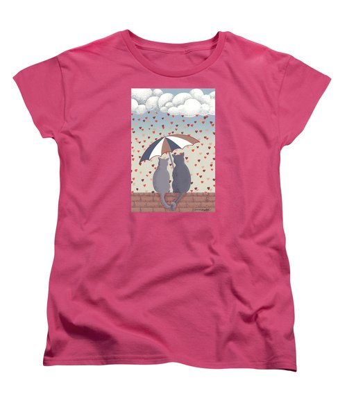 Women's T-Shirt (Standard Cut) featuring the mixed media Cats In Love by Anne Gifford