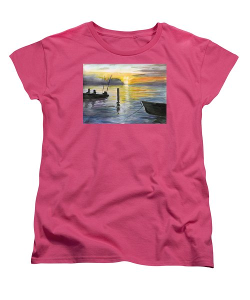 Chesapeake Sunset Women's T-Shirt (Standard Cut) by Clara Sue Beym