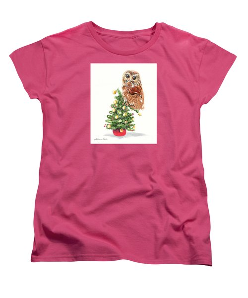 Women's T-Shirt (Standard Cut) featuring the painting Christmas Owl by LeAnne Sowa
