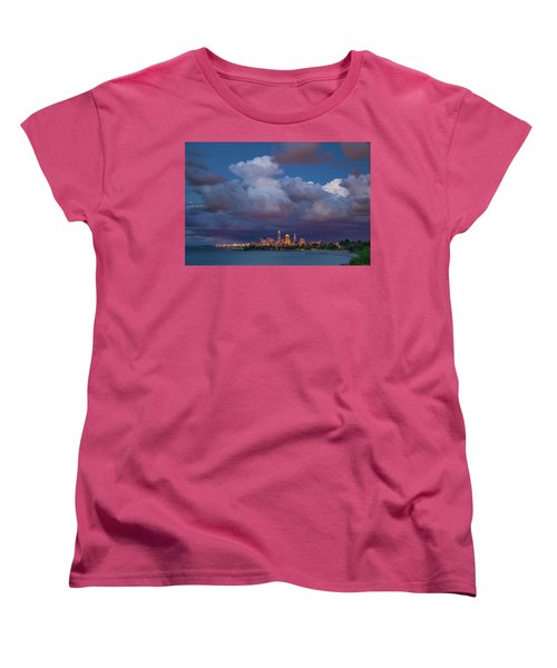 Women's T-Shirt (Standard Cut) featuring the photograph Cleveland Skyline  by Emmanuel Panagiotakis