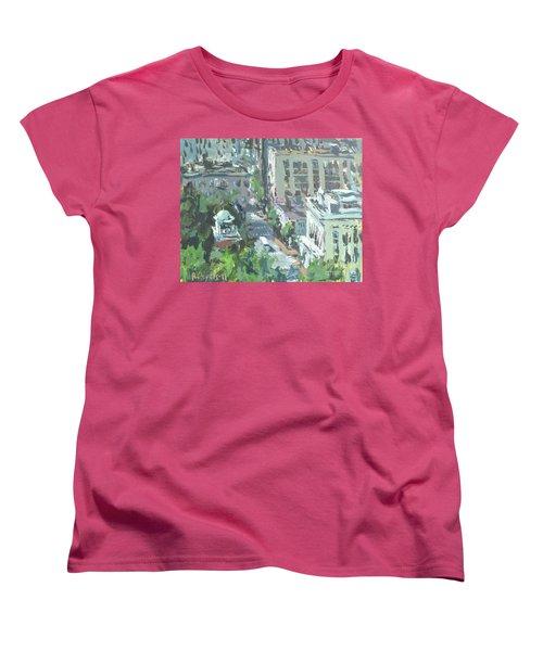 Women's T-Shirt (Standard Cut) featuring the painting Contemporary Richmond Virginia Cityscape Painting by Robert Joyner