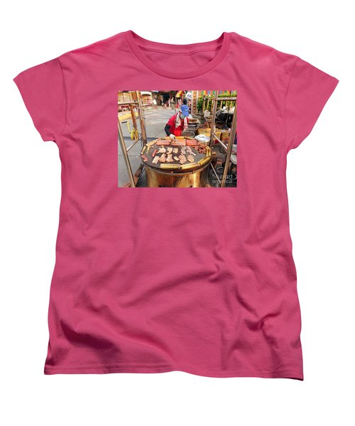 Women's T-Shirt (Standard Cut) featuring the photograph Cooking Meat And Eggs On A Huge Grill by Yali Shi