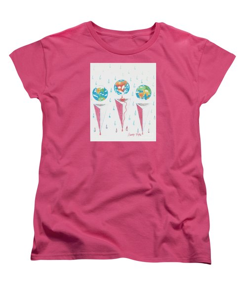 Women's T-Shirt (Standard Cut) featuring the drawing Africa Bleeds Cupable Countries by Rod Ismay