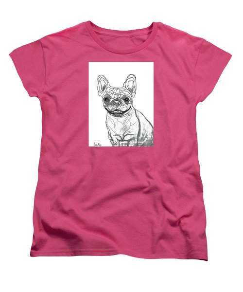 Women's T-Shirt (Standard Cut) featuring the drawing Dog Sketch In Charcoal 7 by Ania M Milo