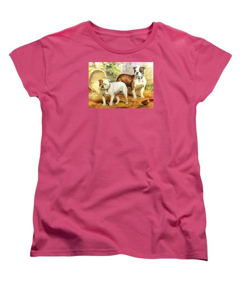 Women's T-Shirt (Standard Cut) featuring the digital art English Bulldogs by Charmaine Zoe